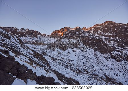 High Atlas Mountains. Winter Sunrise View.  Travel Photography.