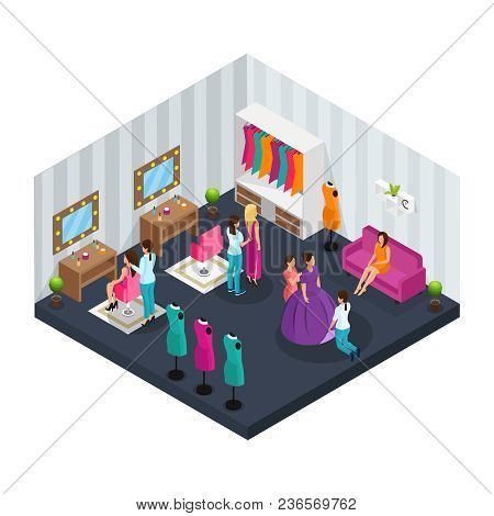 Isometric Makeup Room Concept With Dressers Dressing Actors For Film Shooting Vector Illustration