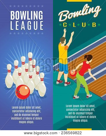 Isometric Bowling Game Vertical Banners With Skittles And Players Throwing Balls Into Pins Vector Il