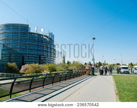 Strasbourg, France - Apr 17, 2018: Police Surveilling European Parliament Facade During Emmanuel Mac