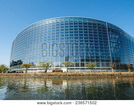 Strasbourg, France - Apr 17, 2018: Wide Angle Of European Parliament Facade During Emmanuel Macron V