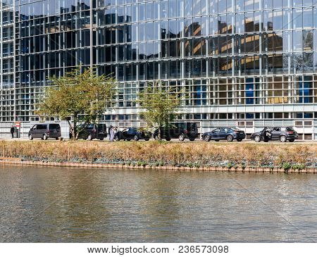 Strasbourg, France - Apr 17, 2018: Executive Cars Convoy Of The Emmanuel Macron, President Of France