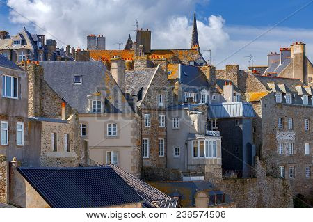 View Of Old Buildings In The Historic Part Of The City. Saint Malo. France. Brittany.