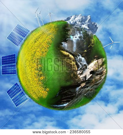 Terrestrial Globe Formed By An Ecological Nature And Sustainable Alternative Energy
