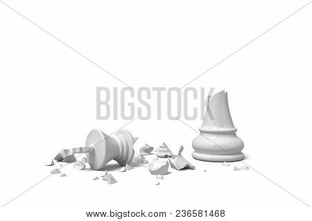 3d Rendering Of A Completely Broken White Chess King Lies In Rubble On A White Background. Loss And
