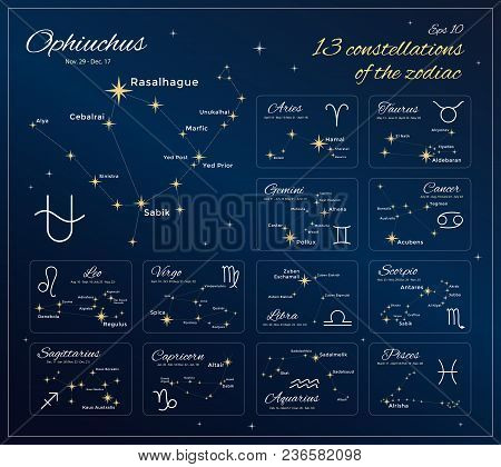 Zodiac Constellations Set. 13 Constellations With Titles, Dates And Proper Names Of Stars. Horoscope