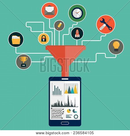 Concepts For Creative Process, Big Data Filter, Data Tunnel And Analysis. Flat Vector Illustration