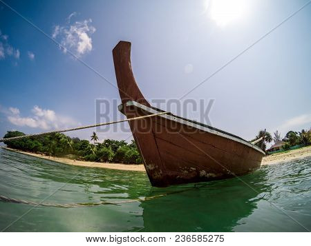 Action Cam Fisheye Picture Of A Traditional Thai Longtail Boat In Long Beach, Ko Lanta, Thailand