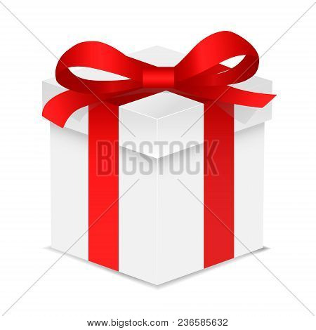 Gift Box With Red Color Bow Knot And Ribbon Isolated On White Background. Happy Birthday, Christmas,