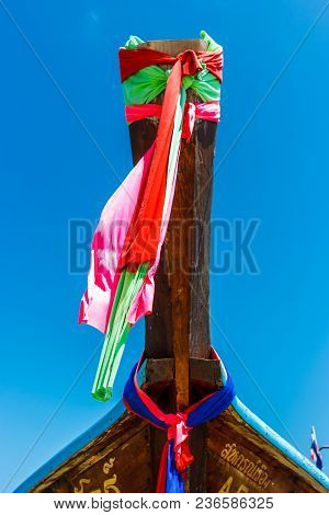 Colorful Decorations On The Bow Of A Traditional Longtail Boat In Phi Phi Island, Thailand.