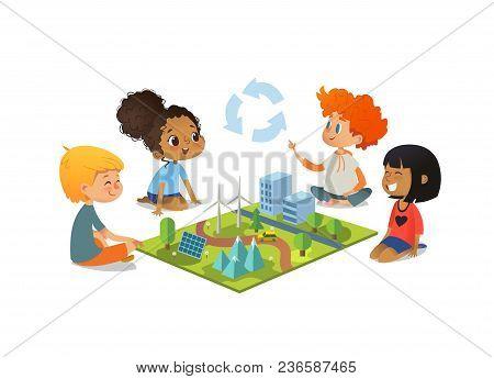 Children Sitting On Floor Explore Toy Landscape, Mountains, Eco-green City, Plants, Trees, Solar Pan