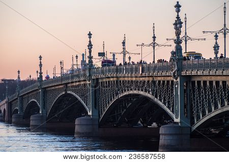 View Of The Trinity Bridge Over The Neva River In St. Petersburg.