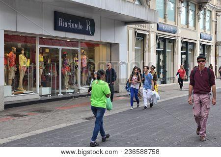 Curitiba, Brazil - October 7, 2014: People Shop At Riachuelo In Curitiba, Brazil. Riachuelo Has 230