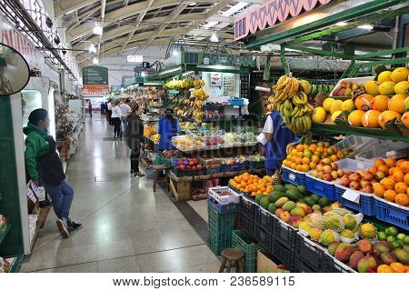 Curitiba, Brazil - October 7, 2014: People Visit The Municipal Market In Curitiba, Brazil. The Marke