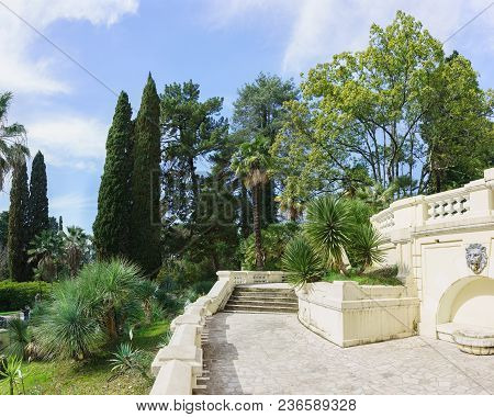 Terraces Leading To The House-museum Of Sergey Khudekov Villa Nadezhda In The Center Of The Park Arb