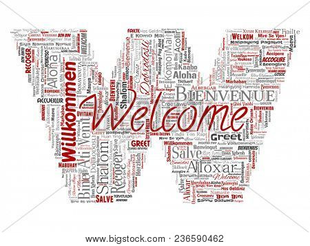 Conceptual abstract welcome or greeting international letter font W word cloud in different languages or multilingual. Collage of world, foreign, worldwide travel translate, vacation tourism