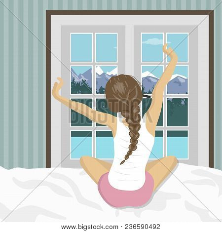 Woman Stretching In Bed After Wake Up. Concept For Holidays And Vacations. Summer Mountain Scenery.