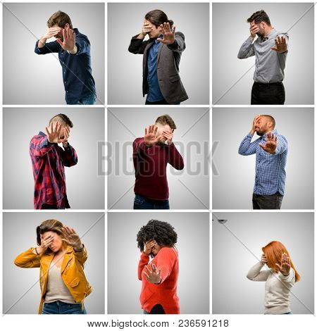 Group of mixed people, women and men stressful and shy keeping hand on head, tired and frustrated