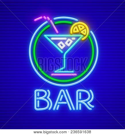Cocktail Bar Neon Sign. Glass Goblet For Drink With Ice And Lemon. Neon Icon Made Of Lamps With Illu