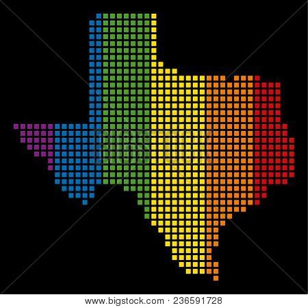 Multicolored Vector Abstract Mosaic Of Texas Map Composed Of Rounded Square Pixels. Vector Homosexua