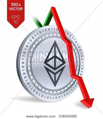 Ethereum. Fall. Red Arrow Down. Ethereum Index Rating Go Down On Exchange Market. Crypto Currency. 3