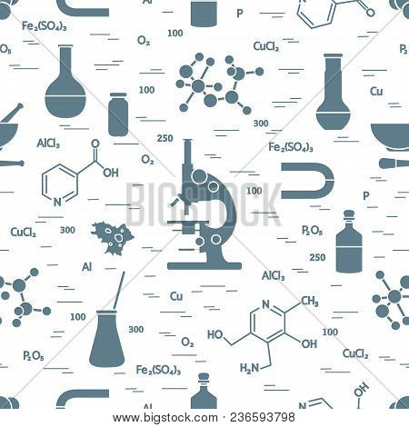 Seamless Pattern With Variety Scientific, Education Elements: Microscope, Flasks, Formula, Pestle An