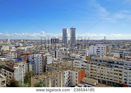 Casablanca, Morocco - April 3, 2018: Panoramic Aerial View Of Casablanca, With Twin Center Towers, M
