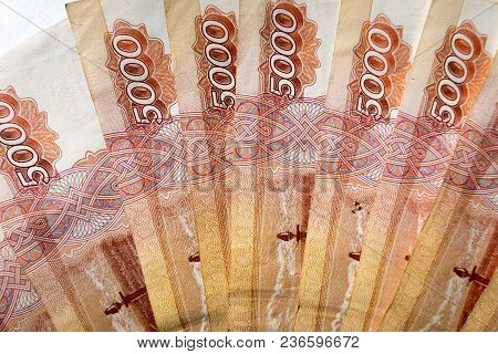 A Few Notes Of Five Thousand Russian Rubles Close-up