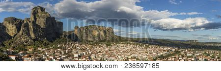 Panorama Of Meteora Rock Formation And City Of Kalabaka In Central Greece