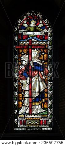 ROME, ITALY - SEPTEMBER 02: Saint Helena on the stained glass of All Saints' Anglican Church, Rome, Italy on September 02, 2016.