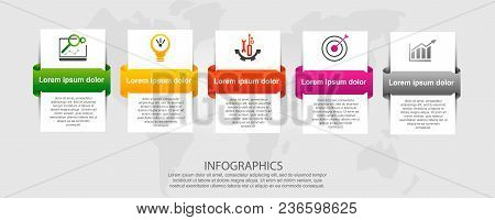 Modern Vector Illustration 3D. Template For Infographic Rectangles With Labels Five Elements. Contai