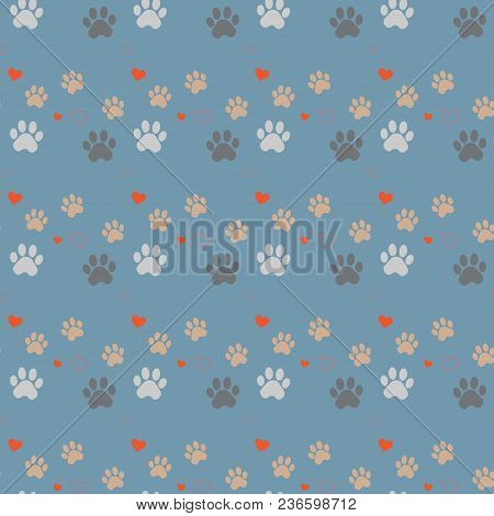 Paw Print And Heart Seamless. Traces Of Cat Textile Pattern. Cat Footprint Seamless Pattern. Vector