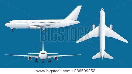 Airplane On Blue Background. Industrial Blueprint Of Airplane. Airliner In Top, Side, Front View. Fl