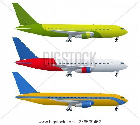 Airplane On Blue Background. Industrial Blueprint Of Airplane. Airliner In Side View. Flat Style Vec