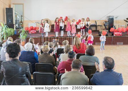 A Children's Holiday In The Kindergarten. Speech Of Children In The Kindergarten In The Hall On The