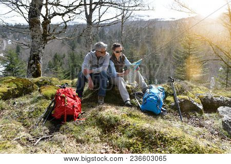 Couple of hikers reading orientation map