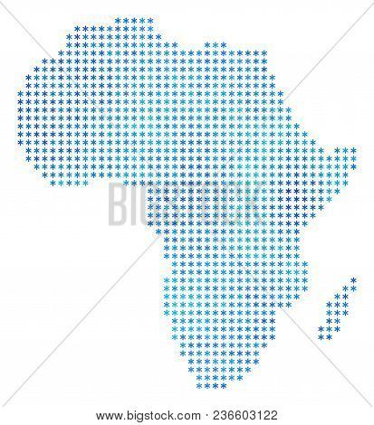Icy Africa Map. Vector Geographic Map In Blue Icy Colors. Vector Collage Of Africa Map Designed Of S