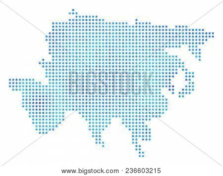 Snowflake Asia Map. Vector Geographic Map In Blue Icy Colors. Vector Pattern Of Asia Map Done Of Sno