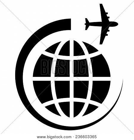 Symbolic Image Of The Planet And The Airplane. Travel And Business Concept. Vector Illustration