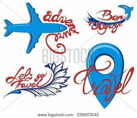 Sketch With Bon Voyage Travel Symbol For Your Design