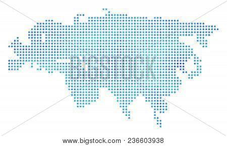 Snowflake Europe And Asia Map. Vector Geographic Map In Blue Cold Colors. Vector Mosaic Of Europe An