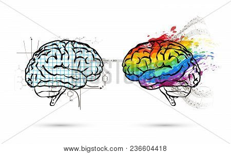 Technical And Art Hemispheres On Human Brain In Side View, Left And Right Brain Functions Concept Is