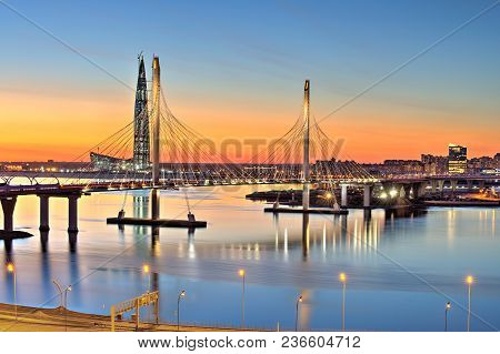 St. Petersburg, Russia - April 13, 2018: Cable-stayed Bridge Across Neva River As Part Of Western Hi