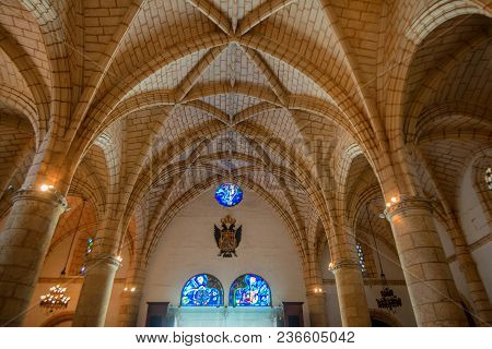 Santo Domingo, Dominican Republic- October 30, 2015: Interior Of Cathedral Primada De America In San
