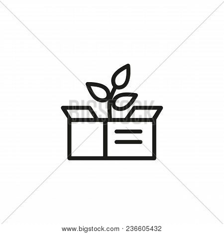 Line Icon Of Plant Growing In Box. Product Growth, Seedling, Beginning. Startup Concept. For Topics
