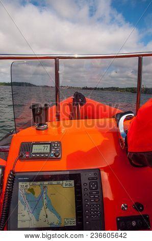 Vordingborg Denmark - June 10. 2017: Danish Sar Sea Rescue Boat Sailing Near The Coast