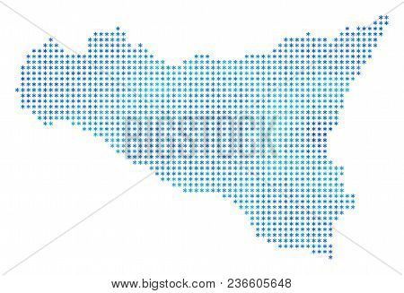 Icy Sicilia Map. Vector Geographic Map In Blue Icy Colors. Vector Collage Of Sicilia Map Organized O