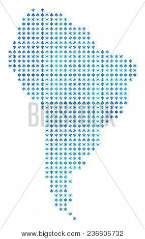 Winter South America Map. Vector Geographic Map In Blue Frost Colors. Vector Concept Of South Americ