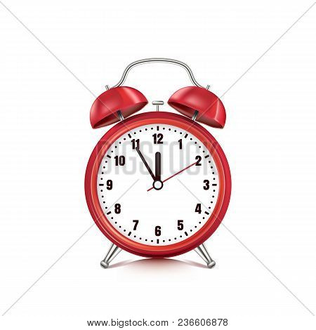 Vector Realistic 3D Illustration Of Red Alarm Clock, Isolated On White Background. Five Minutes To T