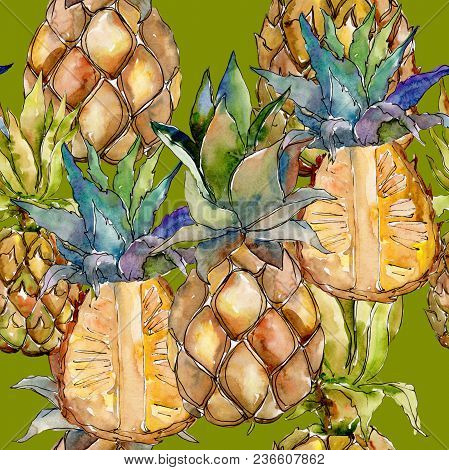Exotic Pineapple Healthy Food In A Watercolor Style Pattern. Full Name Of The Fruit: Pineapple. Aqua